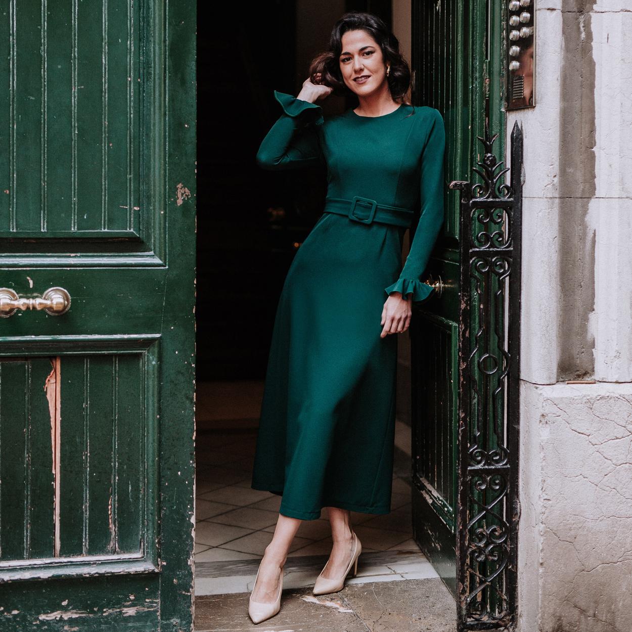 Vestido Dalia Verde Botella